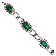 Sterling Filigree Bracelet w Three Malachite Cabochons