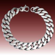 Heavy Sterling Flat Curb Link Chain Bracelet