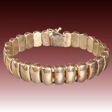 Gold Plate Sterling Flexible Dome Link Bracelet