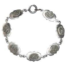 "Antique Victorian Sterling & Iron Pyrite ""Fools Gold"" Link Bracelet"