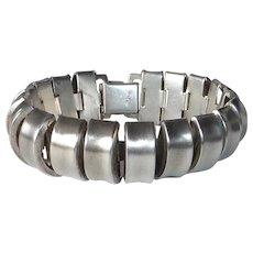 Sculptural Sterling Bold Machine Age Design Statement Bracelet