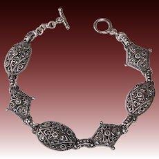 Sterling & Marcasite Domed Link Bracelet