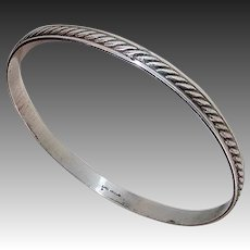 Sterling Textured Diagonal Rope Pattern Bangle Bracelet