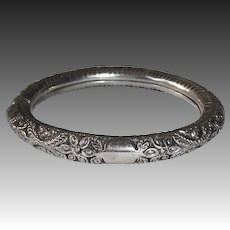 Victorian Handcrafted Sterling Repousse Bangle Bracelet