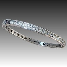 Art Deco Sterling & Rhinestone Hinged Bangle Bracelet