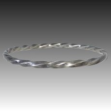 Sterling Heavy Square Twisted Wire Bangle Bracelet
