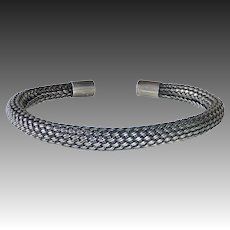 Sterling Silver Woven Tubular Flexible Cuff Bracelet