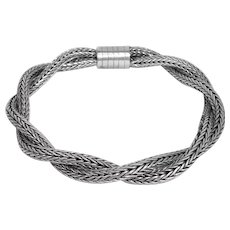 Sterling Silver Twisted Woven Rope Bracelet
