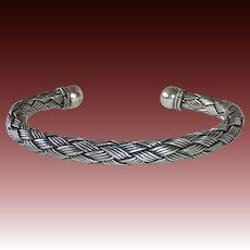 Sterling Silver Woven Tubular Flexible Cuff Bracelet