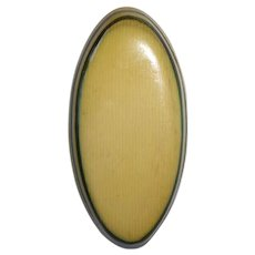 Large Oval Layered Hard Celluloid Button