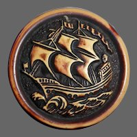 Large Celluloid Molded Picture Button Sailing Ship at Sea