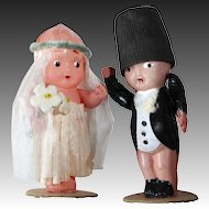 Celluloid Bride & Groom Cake Topper c1920-30s