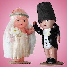 Celluloid Bride & Groom Cake Topper c1920-30s