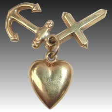 14k Holy Trinity Charm Heart Anchor Cross
