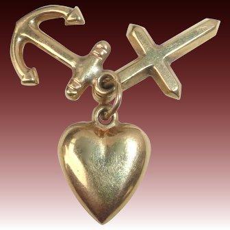 14k Holy Trinity Charm Heart Anchor Cross