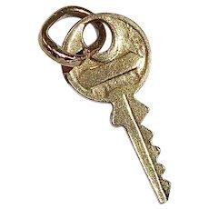 14k Yellow Gold Key Charm