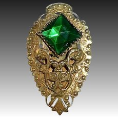 Art Deco Brass Dress Clip w Faceted Green Jewel