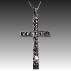 Theda Sterling & Marcasite Cross & Chain