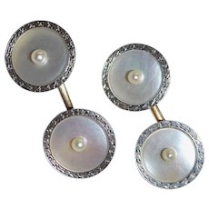 Art Deco 14k & Platinum Mother of Pearl Cufflinks