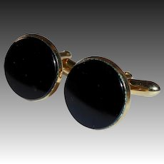 Swank Gold Tone Black Onyx Cufflinks