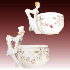 Porcelain 'Bottoms Up' Victorian Design Novelty Tea Cups