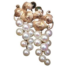 10k Edwardian Pearl Grape Cluster Drop Earrings