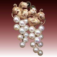 10k Edwardian Pearl Grape Cluster Drop Earrings