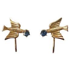 Delicate 10k Bird Screw Back Earrings w Blue Stone