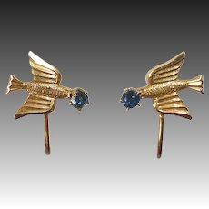 Delicate 10k Bird Screw Back Earrings w Blue Stone