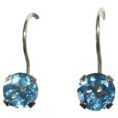 10k Blue Topaz Pierced Earrings