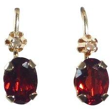 10k Garnet Drop Leverback Pierced Earrings