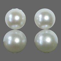 14k White Gold Double Pearl Screw Back Earrings