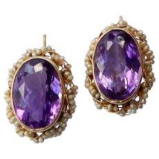 14k Victorian Revival Amethyst Pierced Earrings w Seed Pearl Frame