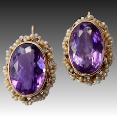 14k Victorian Revival Amethyst Pierced Earrings w Seed Pearl Frame