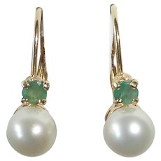 14k Cultured Pearl Emerald Leverback Earrings