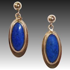 14k Lapis Oval Pierced Earrings