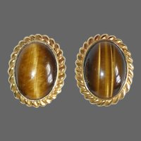 14k Tiger Eye Cab Clip Earrings w Repousse Frame c1960s