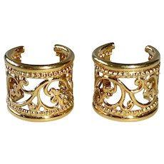 18k Filigree Pierced Hoop Earrings