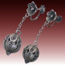 800 Silver Filigree Ball Drop Screw Back Earrings