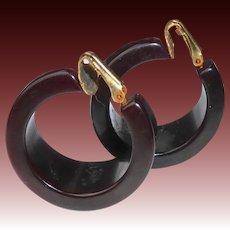 Bakelite Chocolate Brown Tapered Hoop Clip Earrings