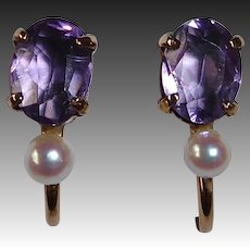Gold Filled Amethyst & Cultured Pearl WRE Earrings