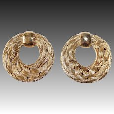 Napier Gold Tone Woven Wire Wreath Clip Earrings