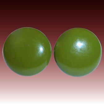 Olive Green Bakelite Dome Earrings