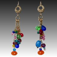 Gold Filled Vintage Glass Bead Earrings