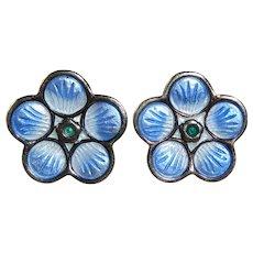 David Anderson Norway Sterling Enamel Flower Post Earrings