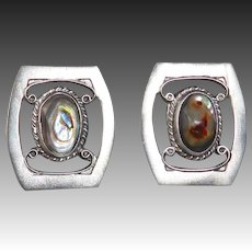 Mexican Sterling & Abalone Screw Back Earrings