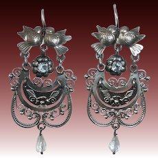Mexican Sterling Pierced Drop Earrings Lovebirds & Aquamarine