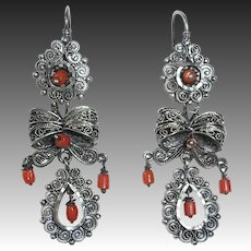 Mexican Sterling Filigree Pierced Earrings Coral Beads