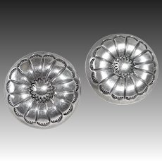Southwest Sterling Concho Style Pierced Earrings