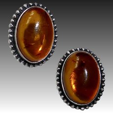 Sterling Silver Genuine Amber Cabochon Pierced Earrings